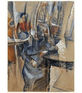 Boccioni Umberto - Interno con due figure femminili. Stampa su tela