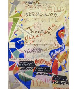 Balla Giacomo - Manifesto per la mostra alla Galleria Angelelli in Roma. Stampa su tela