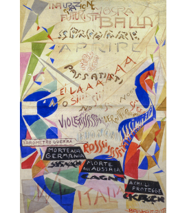 Balla Giacomo - Poster for the exhibition at the Angelelli Gallery in Rome. Printing on canvas