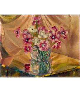 Balla Giacomo - Vaso di tulipani. Stampa su tela