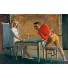 Balthus - Il gioco di carte. Stampa su tela
