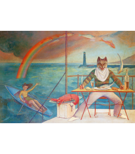 Balthus - The Cat and the Mediterranean. Printing on canvas