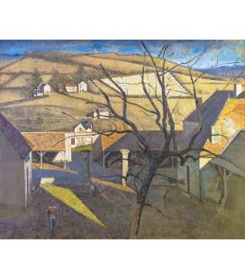 Balthus - Grande paesaggio con albero. Stampa su tela