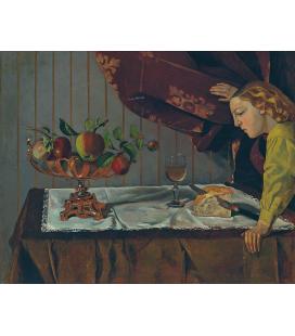 Balthus - Natura morta con una figura. Stampa su tela