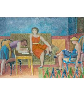 Balthus - Le tre Sorelle. Stampa su tela