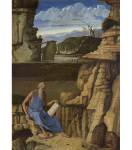 Giovanni Bellini - Saint Jerome reading in a Landscape. Print on canvas