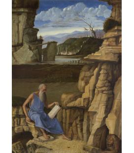 Giovanni Bellini - San Girolamo che legge in un paesaggio. Stampa su tela