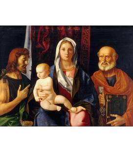 Giovanni Bellini - Madonna e bambino con San Giovanni Battista e Santo. Stampa su tela