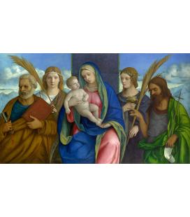 Giovanni Bellini - Madonna col Bambino e Santi. Stampa su tela