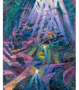 Boccioni Umberto - Forces of a road. Printing on canvas