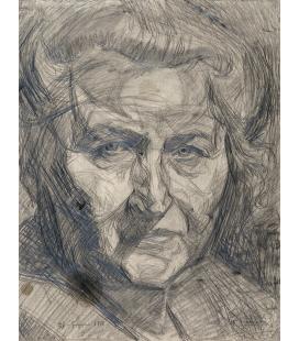 Boccioni Umberto - Studio di testa, la madre. Stampa su tela