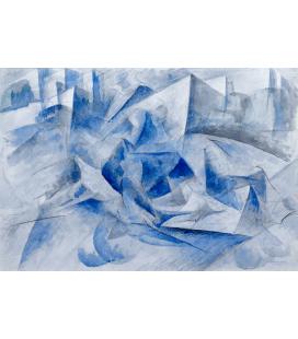 Boccioni Umberto - Horse + rider + houses. Printing on canvas