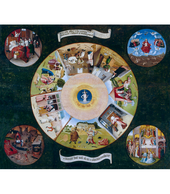 Hieronymus Bosch - The seven deadly sins and the last four things. Printing on canvas