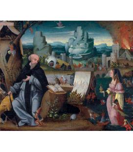 Hieronymus Bosch - La tentazione di Sant'Antonio. Stampa su tela