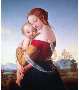 Raffaello Sanzio - Madonna col bambino nel paesaggio. Stampa su tela