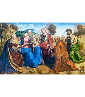 Boccaccio Boccaccino - Sposalizio di santa Caterina con i santi Rosa, Pietro e Giovanni Battista. Stampa su tela