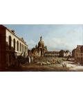 Bellotto Bernardo - New Market Square in Dresden. Printing on canvas