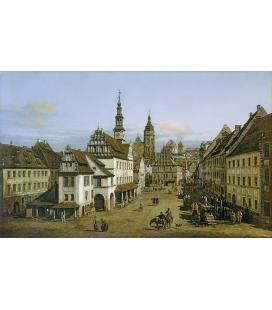 Bellotto Bernardo - Il mercato di Pirna. Stampa su tela