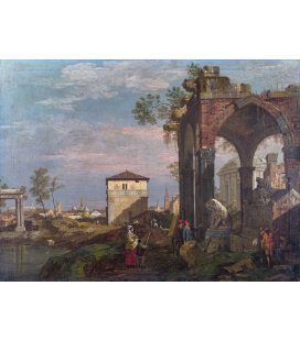 Bellotto Bernardo - A Caprice Landscape with Ruins. Printing on canvas