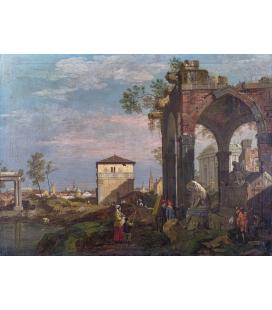 Bellotto Bernardo - Un paesaggio capriccioso con rovine. Stampa su tela