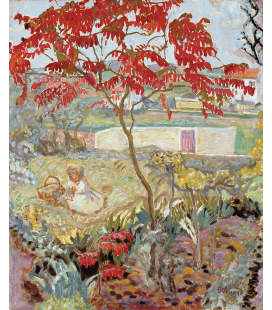 Pierre Bonnard - The Garden and the red tree. Printing on canvas