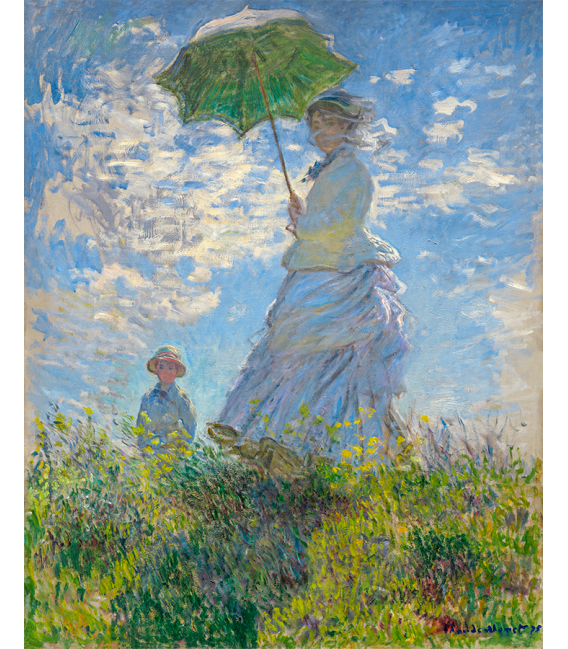 Printing on canvas: Claude Monet - Woman with sunshade - Madame Monet and her son