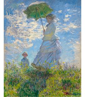 Stampa su tela: Claude Monet - Donna col parasole -Madame Monet e suo figlio