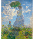 Claude Monet - Woman with sunshade - Madame Monet and her son. Printing Giclée on canvas