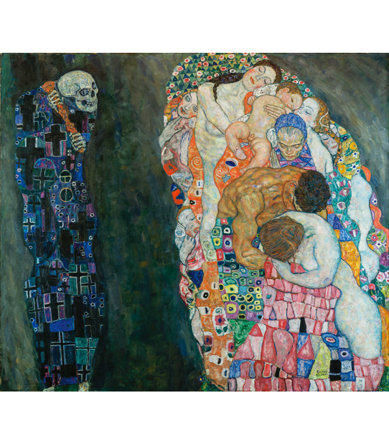 Stampa su tela: Gustav Klimt - La Vita e la Morte