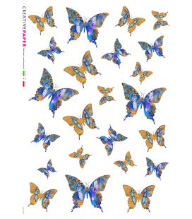 Carta di riso Decoupage: Farfalle Piccole Blue e Gialle