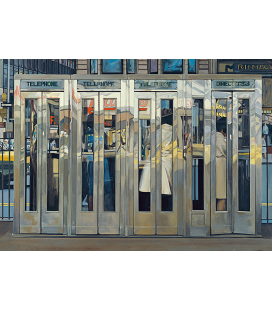 Richard Estes - Phone Box. Giclèe reproduction on canvas