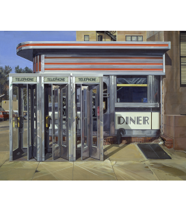 Richard Estes - Diner Custom. Giclèe reproduction on canvas
