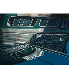 Richard Estes - Bus with reflection of the Flatiron Building. Giclèe reproduction on canvas