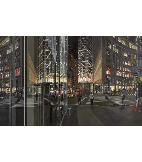 Richard Estes - Columbus Circle at Night. Giclèe reproduction on canvas
