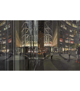 Richard Estes - Columbus Circle at Night. Riproduzione giclèe su tela