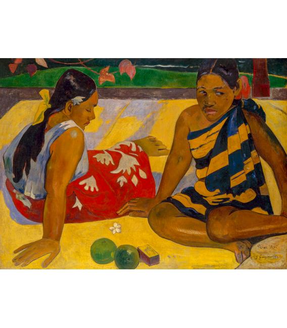 Printing on canvas: Paul Gauguin - Parau Api (Two Tahitian Women Seats)