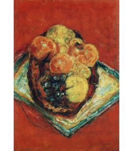 Pierre Bonnard - Frutta sulla tovaglia rossa. Stampa su tela