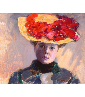 Pierre Bonnard - Femme au Chapeau Rouge. Printing on canvas