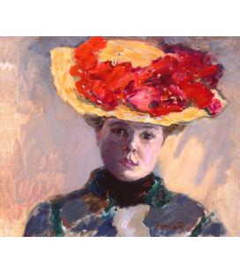 Pierre Bonnard - Ragazza in cappello di paglia. Stampa su tela