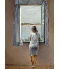 Salvador Dalí - Ragazza alla Finestra. Stampa su tela