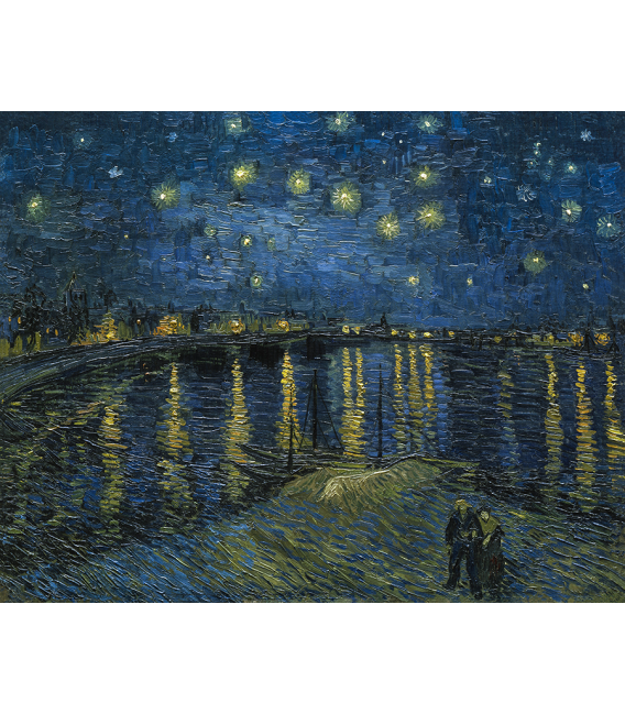 Stampa su tela: Vincent Van Gogh - Notte stellata su Rodano