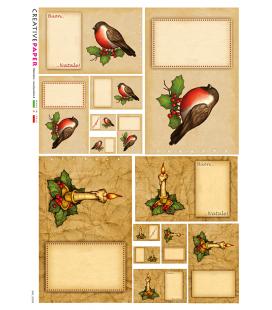 Carta di riso Decoupage: Cartoline Natalizie, Canarino