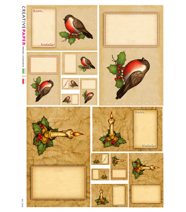 Decoupage rice paper: Christmas Postcards, Canary