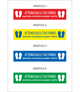 """Horizontal Signage - Walkable Stickers """"WAIT YOUR TURN HERE"""" - 20X100 cm"""