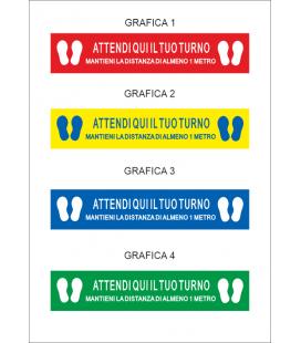 """Segnaletica Orizzontale - Adesivi Calpestabili """"ATTENDI QUI IL TUO TURNO"""" - 20X100 cm"""