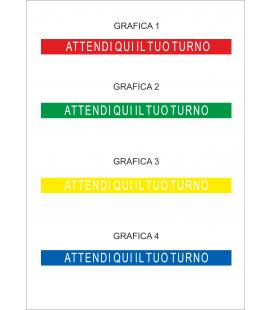 """Segnaletica Orizzontale - Adesivi Calpestabili """"ATTENDI QUI IL TUO TURNO"""" - 8X100 cm - 2pz"""