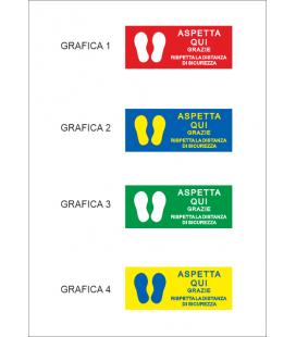 """Segnaletica Orizzontale - Adesivi Calpestabili """"ASPETTA QUI"""" - 20X50 cm - 2 pz"""