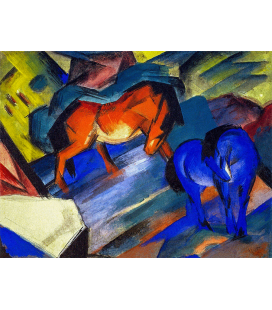 Marc Franz - Cavalli Rosso e Blu. Stampa su tela