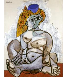 Picasso Pablo - Nudo con berretto turco. Stampa su tela