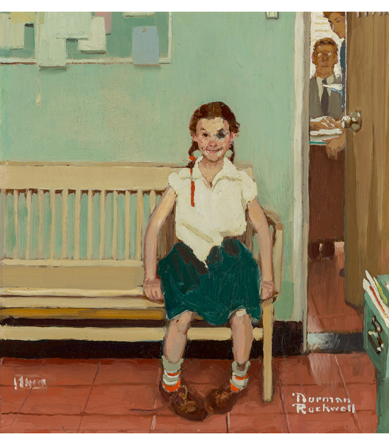 Norman Rockwell - The girl with a black eye on canvas